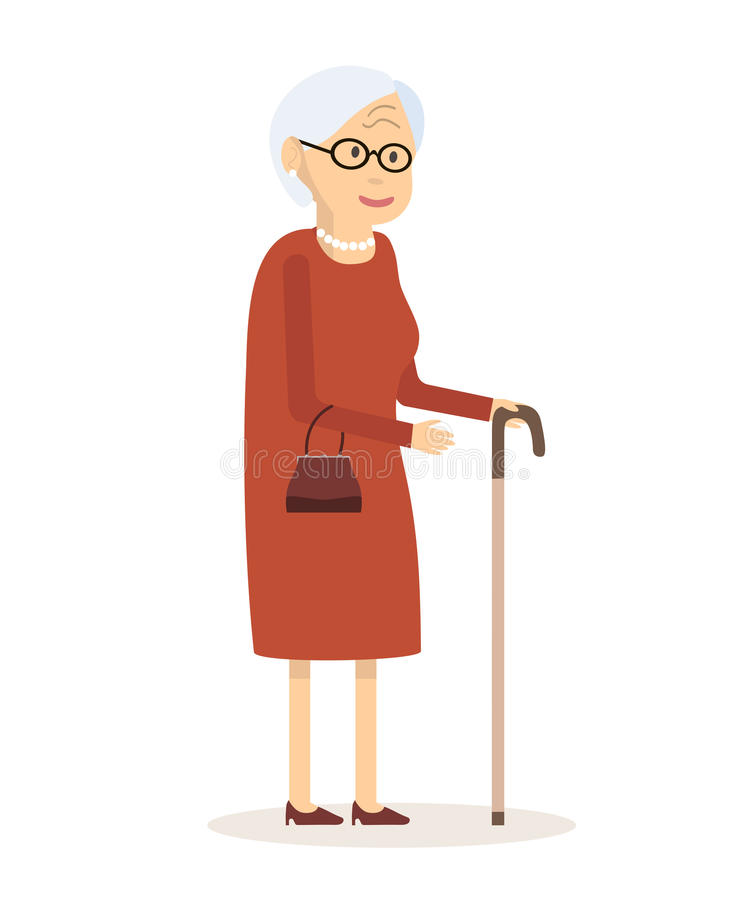 Donna anziana con la canna royalty illustrazione gratis