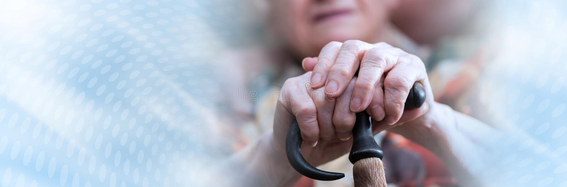 Donna anziana con le sue mani su una canna; insegna panoramica fotografie stock