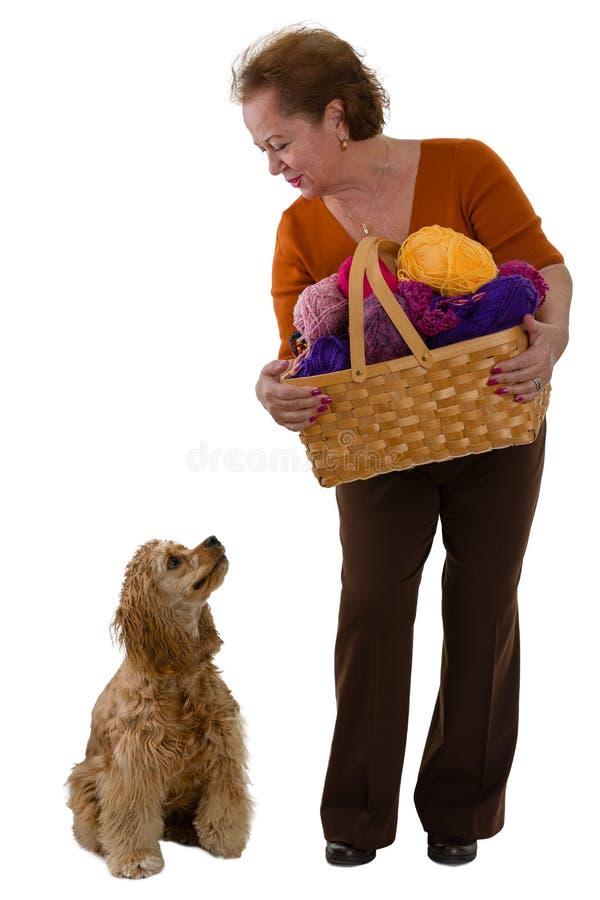 Donna anziana con un canestro di lana e del suo cane fotografia stock libera da diritti