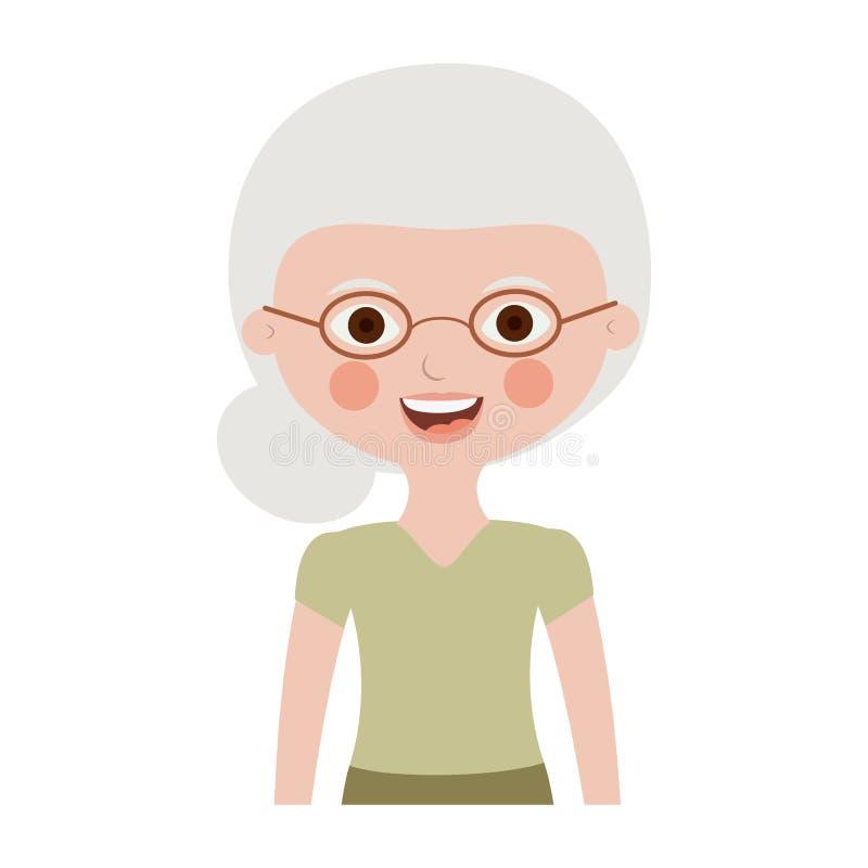 Donna anziana del mezzo ente con i vetri royalty illustrazione gratis