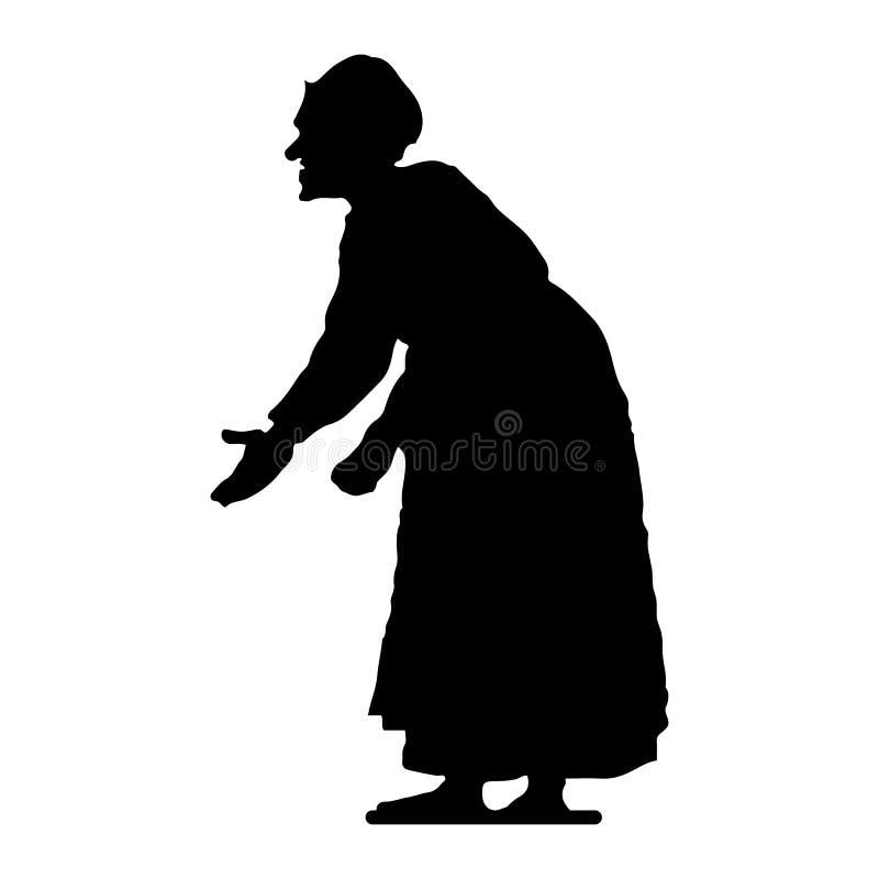 Donna anziana, hunched, siluetta su fondo bianco illustrazione vettoriale