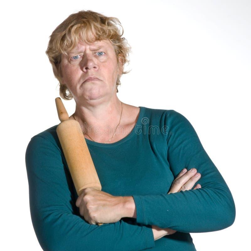 Donna anziana molto arrabbiata fotografia stock libera da diritti