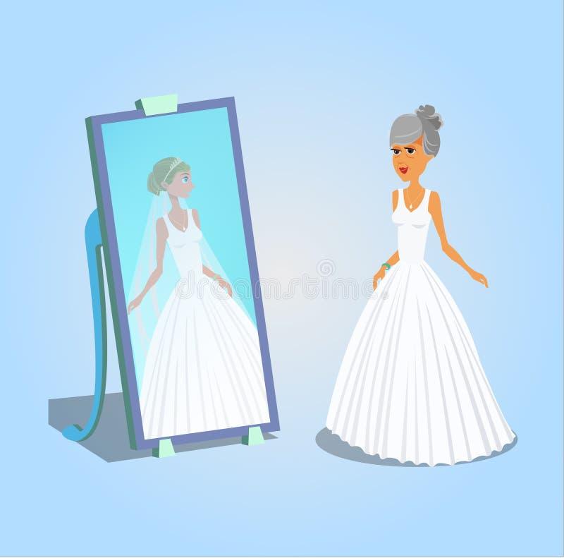 Donna anziana nell'illustrazione di vettore del vestito da sposa illustrazione vettoriale