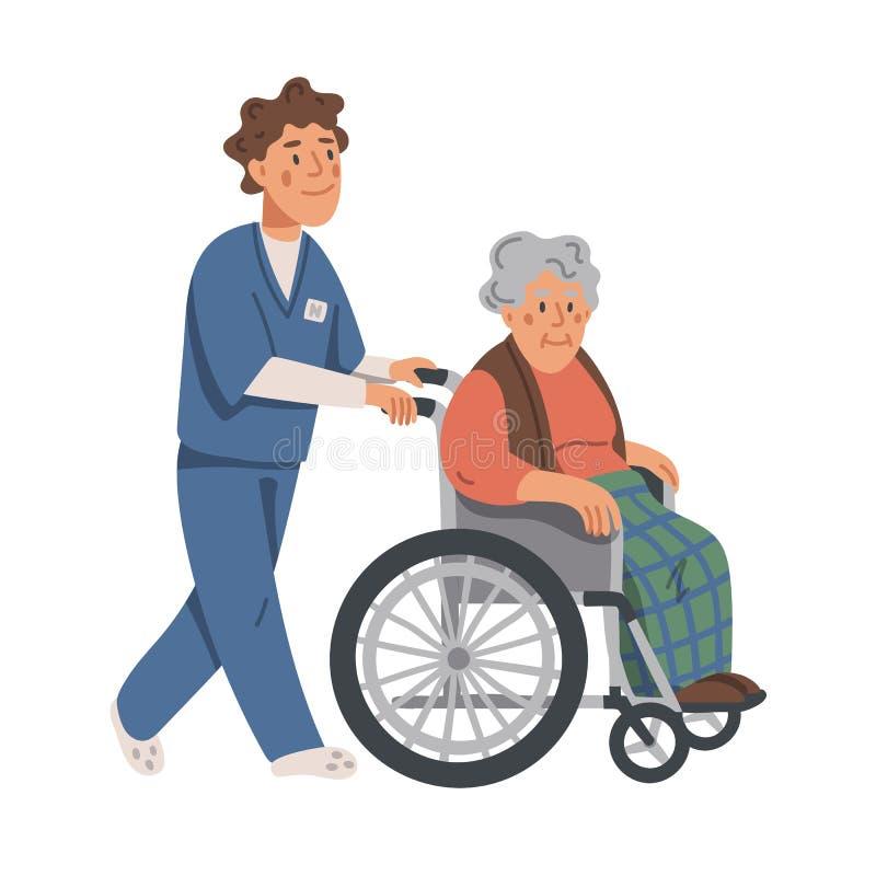 Donna anziana in sedia a rotelle ed in infermiere maschio su fondo bianco Assistente sociale che cammina con la nonna in una sedi illustrazione vettoriale