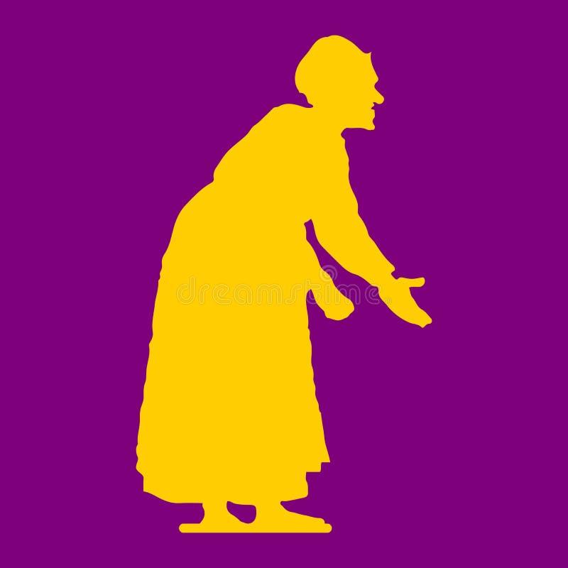 Donna anziana, siluetta hunched e gialla su fondo porpora royalty illustrazione gratis