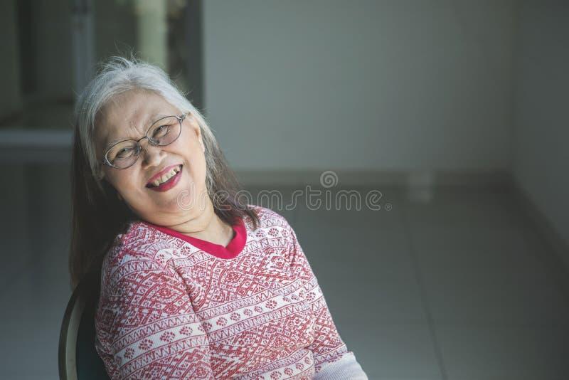 Donna anziana sorridente che si siede in una sedia a rotelle fotografia stock libera da diritti