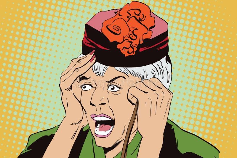 Donna anziana spaventata La gente nel retro stile illustrazione vettoriale