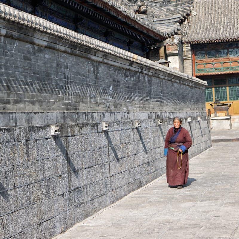 Donna anziana tibetana fotografia stock