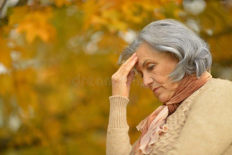Donna anziana triste piacevole fotografia stock libera da diritti