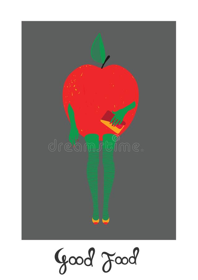 Donna-Apple illustrazione su fondo bianco, modello per progettazione, cartolina d'auguri, invito illustrazione di stock