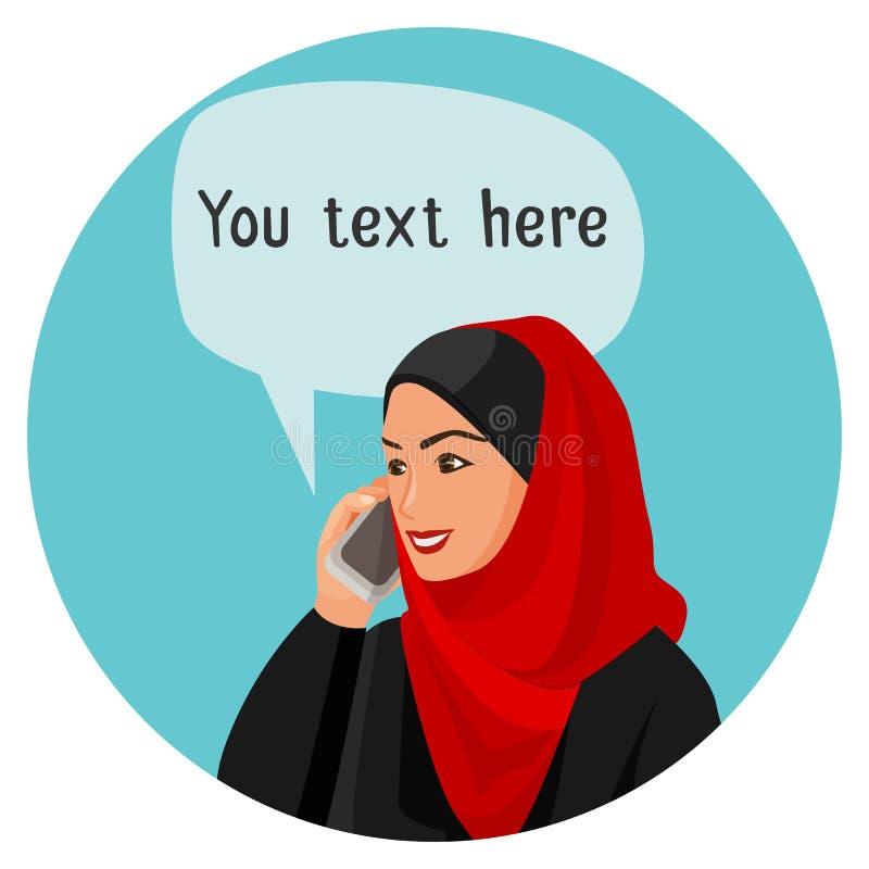 Donna araba che parla sopra lo smartphone con lo spazio per la conversazione illustrazione vettoriale
