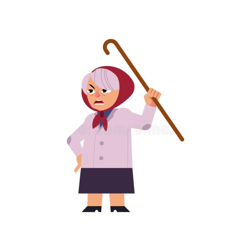 Donna arrabbiata anziana che giura e che minaccia per il suo bastone da passeggio isolato su fondo bianco royalty illustrazione gratis