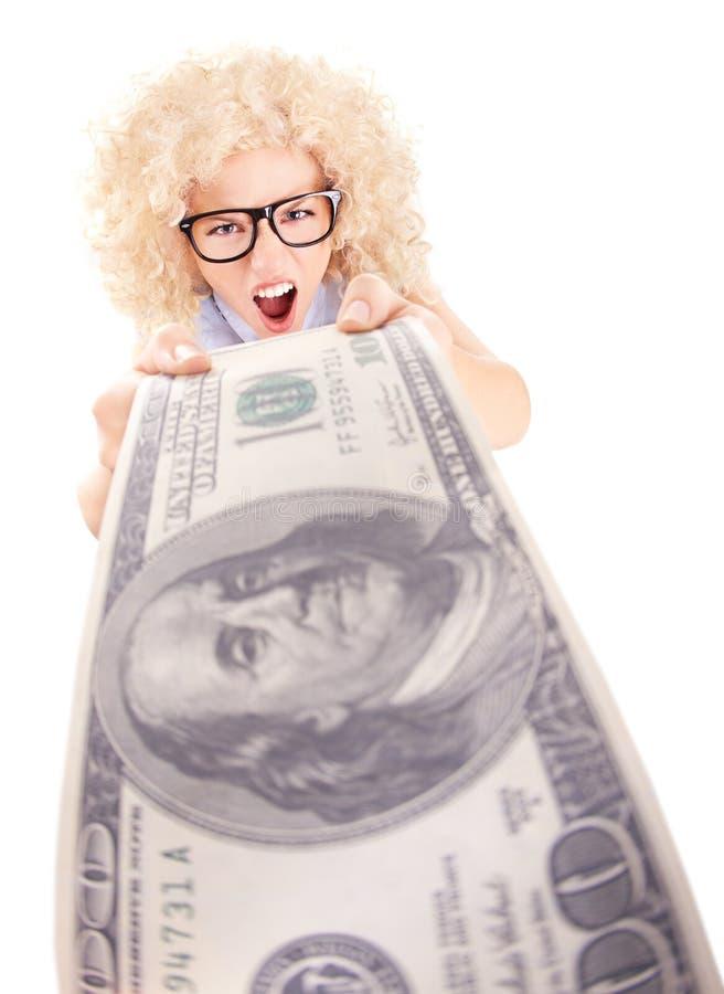 Donna arrabbiata che tiene cento fatture del dollaro fotografie stock libere da diritti