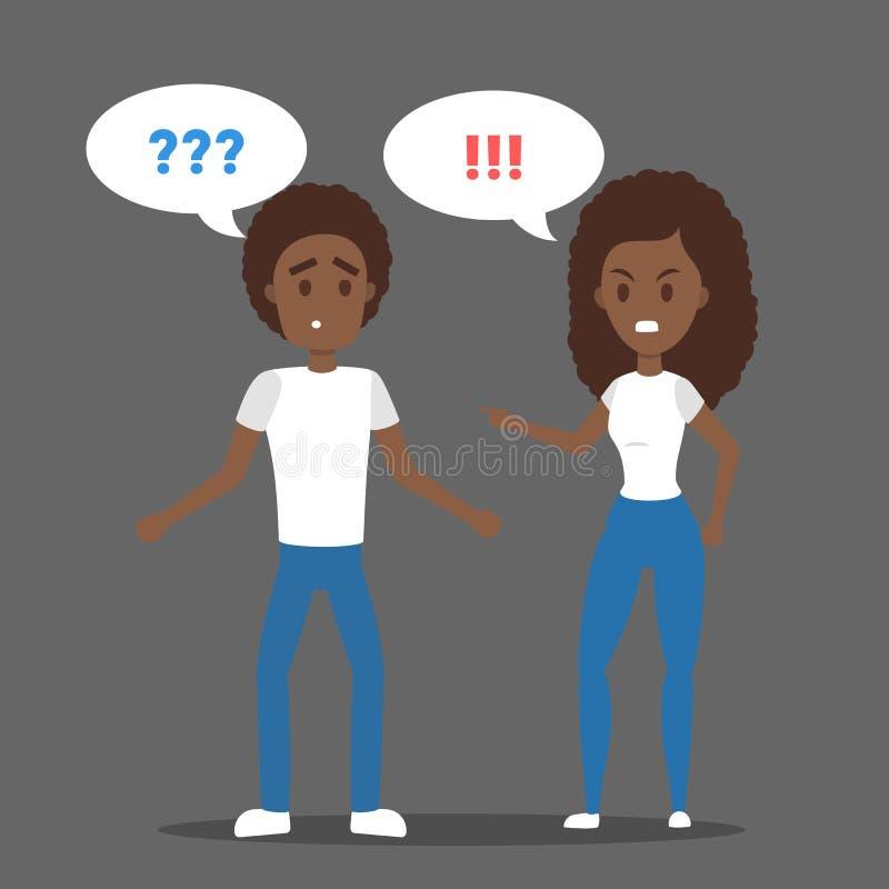 Donna arrabbiata che urla al suo ragazzo sollecitato illustrazione vettoriale