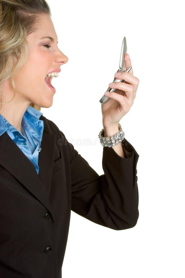 Donna arrabbiata del telefono immagini stock