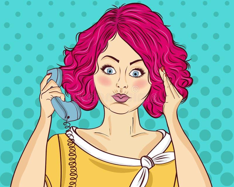 Donna arrabbiata di Pop art che chiacchiera sul retro telefono Donna comica Pin u illustrazione vettoriale