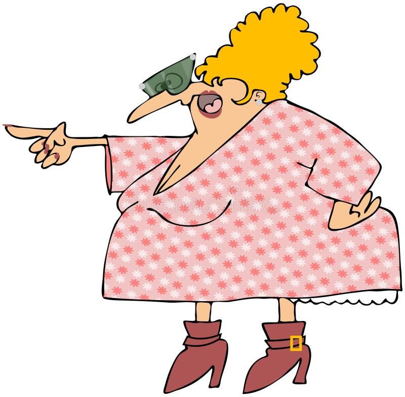 Donna arrabbiata in un vestito fiorito royalty illustrazione gratis