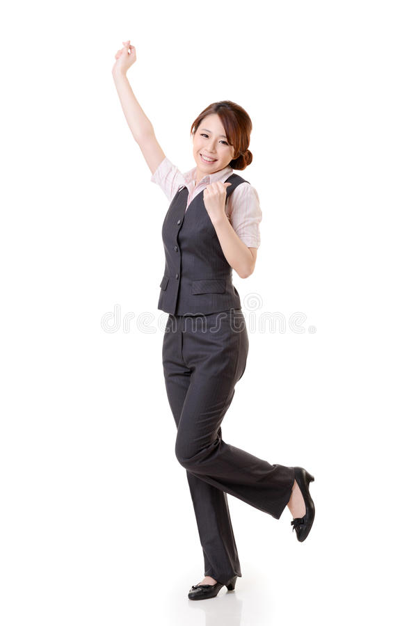 Donna asiatica allegra di affari immagine stock