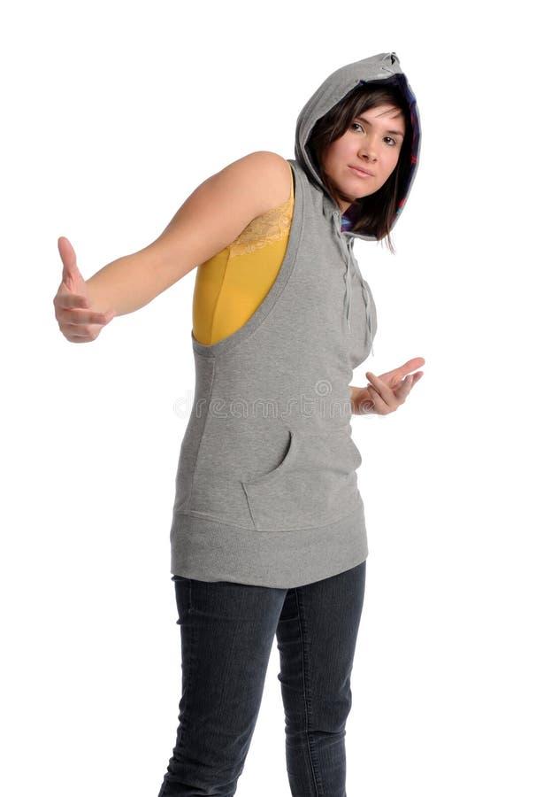 Donna asiatica in cappuccio immagini stock