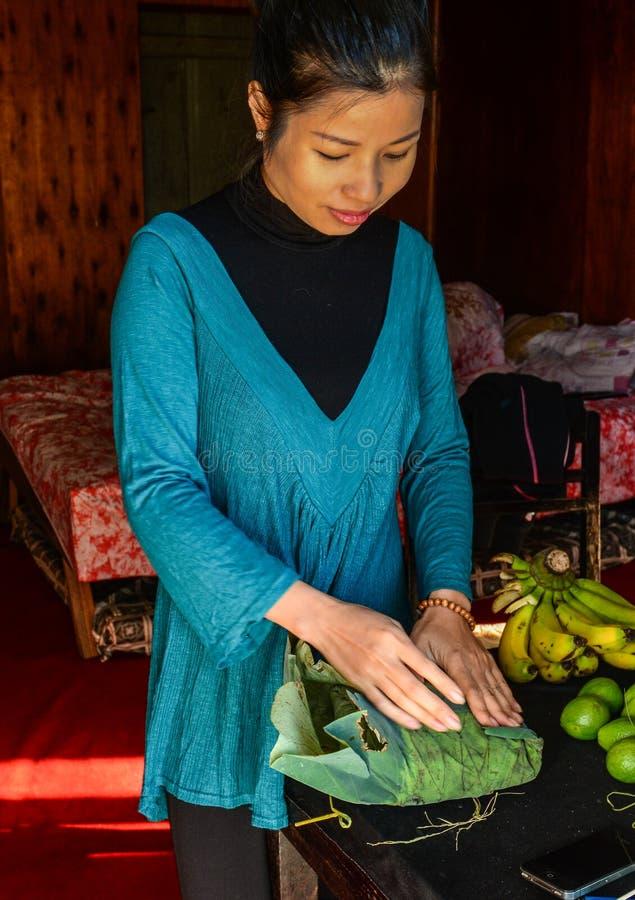 Donna asiatica che cucina alla casa rurale immagine stock