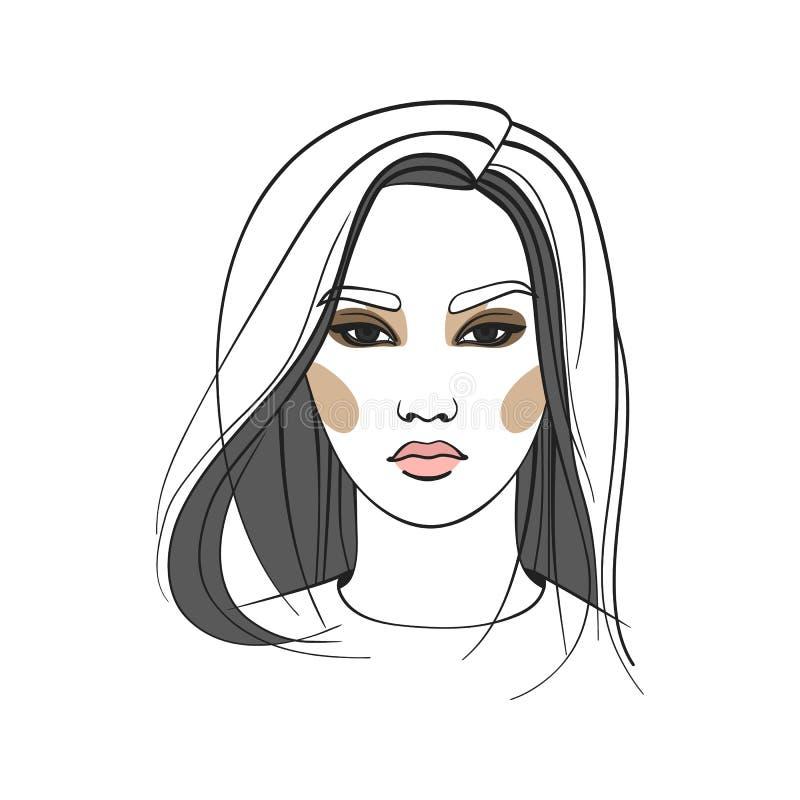 Donna asiatica con capelli lunghi Fronte astratto Illustrazione di modo Illustrazione di vettore immagini stock