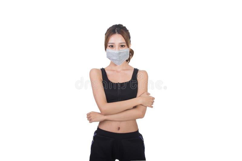 Donna asiatica con la mascherina fotografie stock libere da diritti