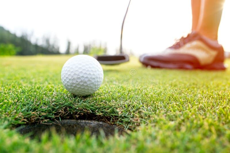 Donna asiatica del giocatore di golf che mette palla da golf sul golf verde su tempo stabilito di sera del sole immagine stock libera da diritti