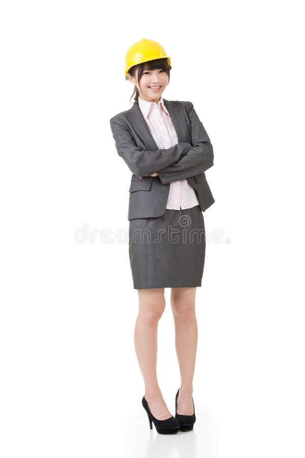 Donna asiatica di affari dell'ingegnere, dell'imprenditore o dell'architetto immagine stock libera da diritti