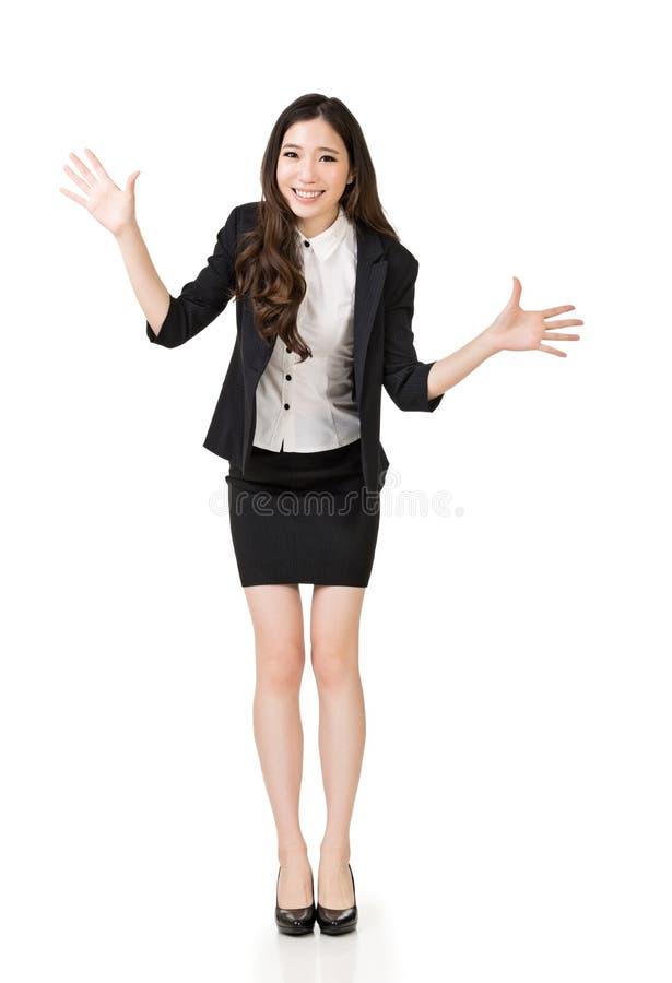 Donna asiatica emozionante di affari immagini stock libere da diritti