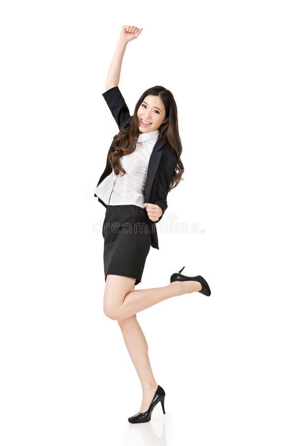 Donna asiatica emozionante di affari fotografia stock libera da diritti