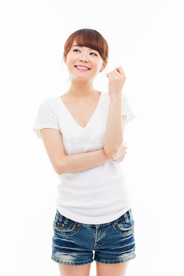 Donna asiatica giovane di pensiero immagine stock