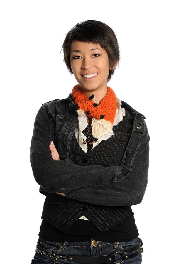 Donna asiatica oy del ritratto fotografia stock