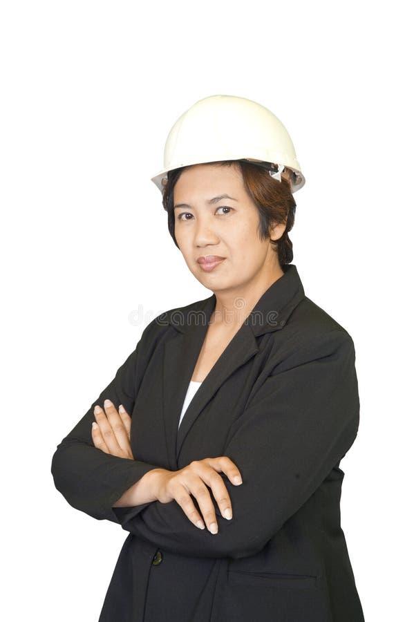 Donna asiatica sicura di affari, ritratto del primo piano su bianco fotografia stock libera da diritti