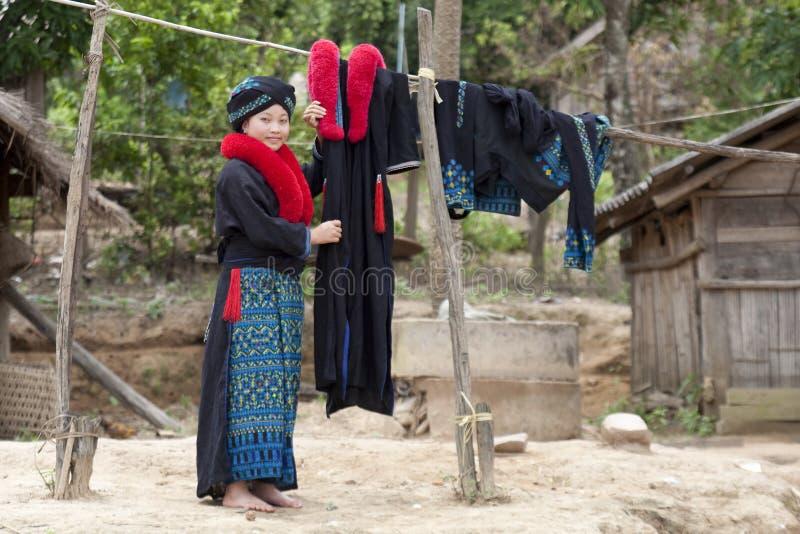 Donna asiatica, Yao, dal Laos immagini stock