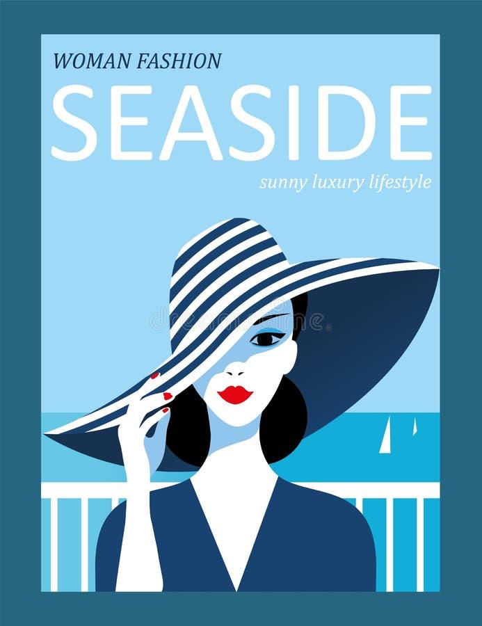 Donna astratta con il cappello a strisce sul fondo del mare Progettazione della copertura di rivista di moda illustrazione vettoriale