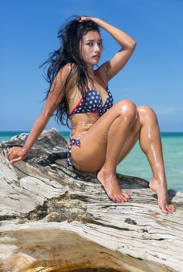 Donna attraente in bikini immagini stock
