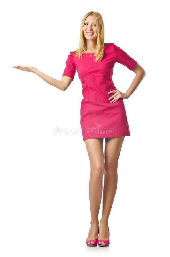 Donna attraente che preme i tasti immagini stock