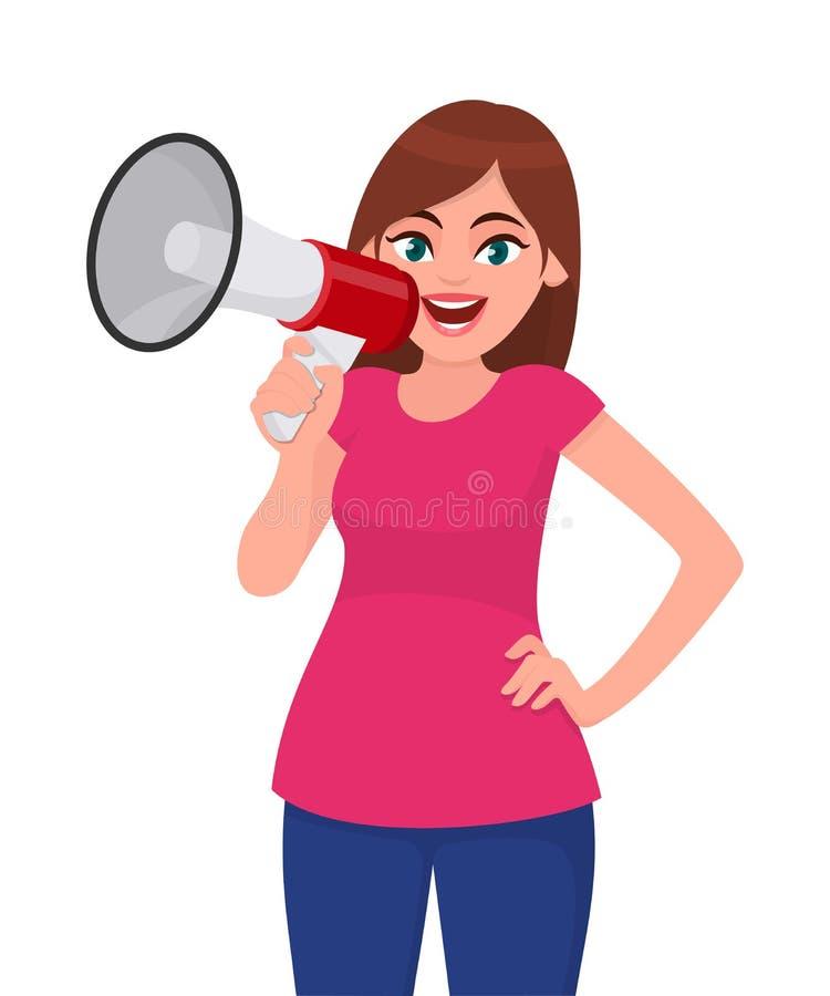 Donna attraente che tiene un megafono/altoparlante rumoroso e che tiene mano sull'anca Ragazza che fa annuncio con il megafono illustrazione di stock