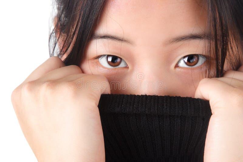Donna attraente di Aisian fotografie stock