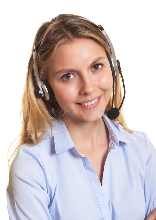 Donna attraente di servizio di assistenza al cliente fotografia stock libera da diritti
