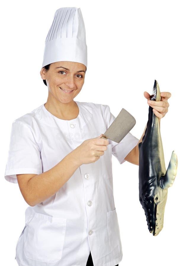 Donna attraente felice del cuoco immagine stock libera da diritti