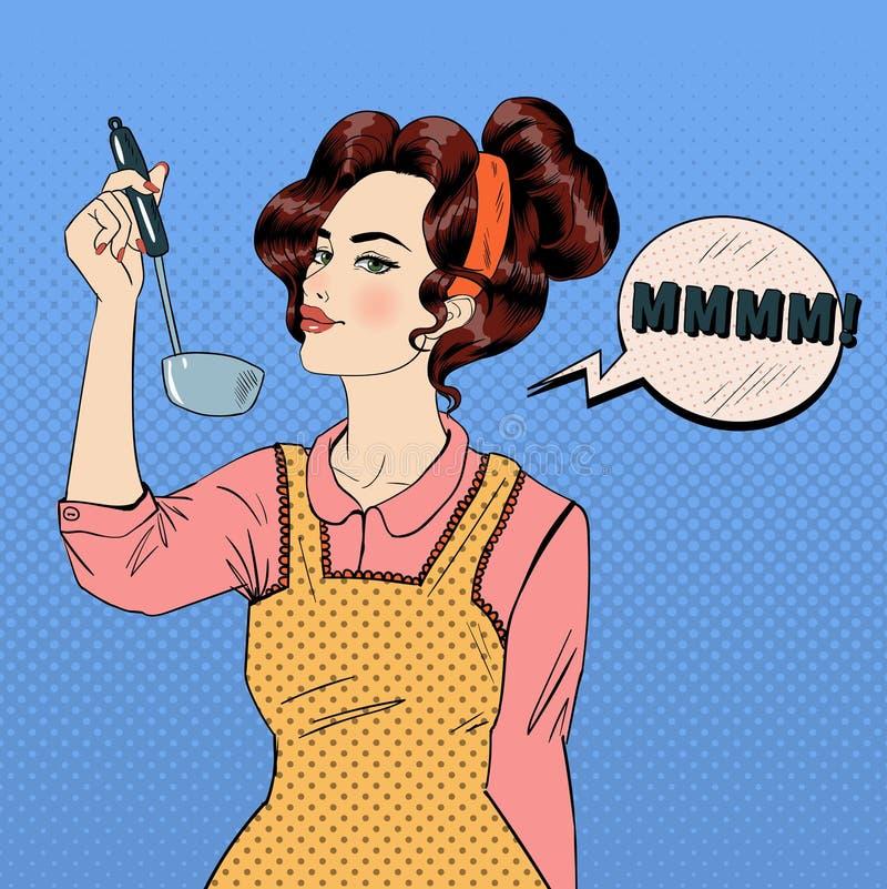 Donna attraente nello schiocco Art Style Cooking nella cucina royalty illustrazione gratis