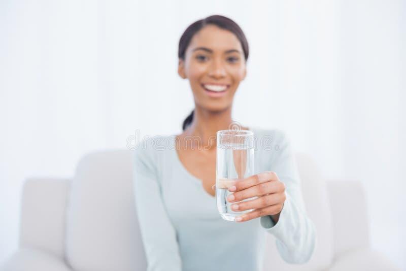 Donna attraente sorridente che si siede sul sofà accogliente che tiene vetro di w immagine stock libera da diritti