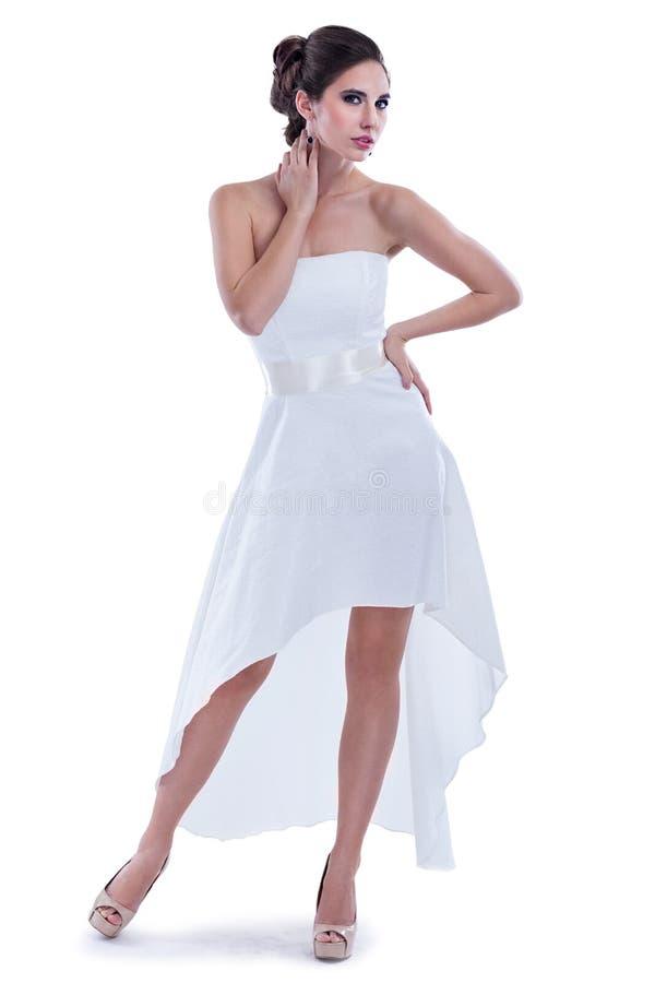 Donna attraente in vestito elegante immagini stock