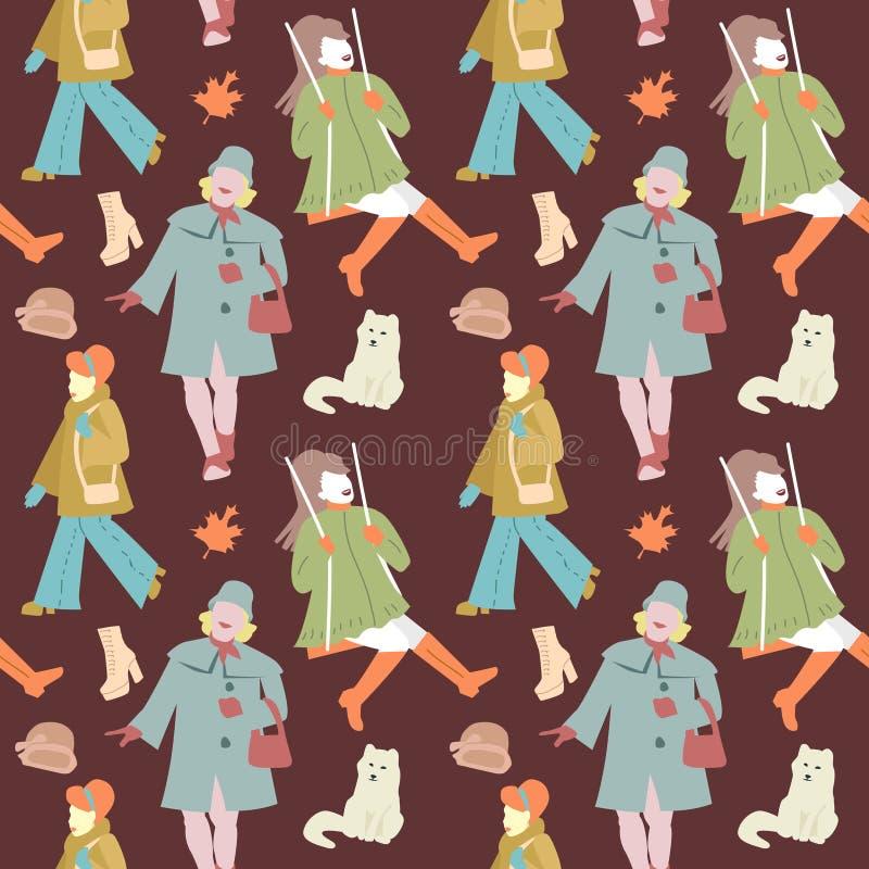 Donna Autumn Retro Fashion Seamless Pattern royalty illustrazione gratis