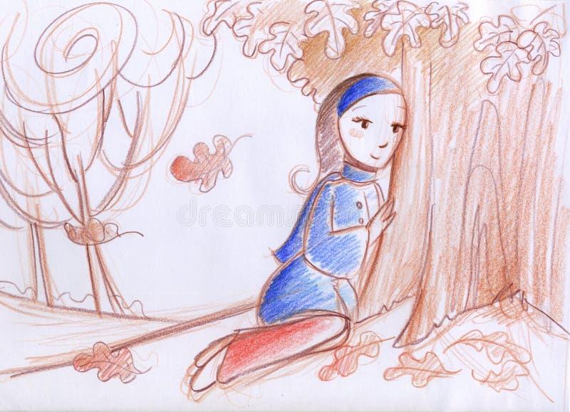 Donna in autunno illustrazione di stock