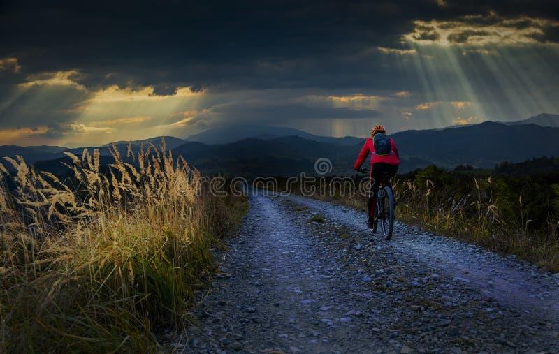 Donna in bicicletta in bicicletta in un paesaggio forestale autunnale Carreggiata del sentiero di ghiaia MTB con ciclismo femmini fotografia stock