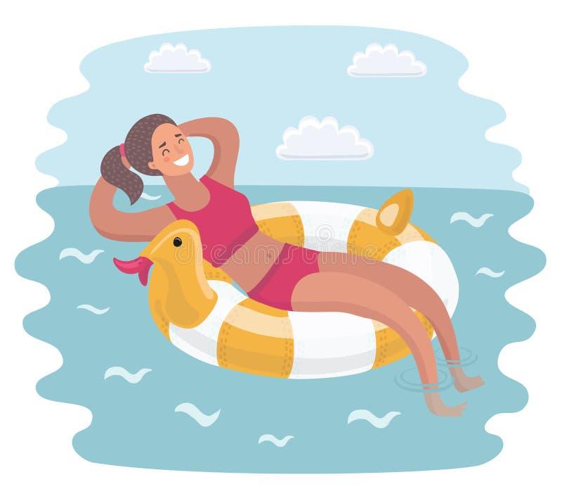 Donna in bikini che galleggia sull'anello gonfiabile sulla superficie dell'acqua illustrazione di stock