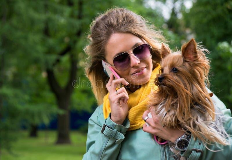 Donna bionda graziosa sorridente dei giovani con Yorkshire t immagine stock libera da diritti