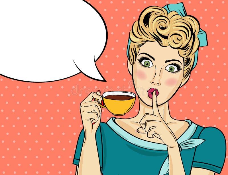 Donna bionda sexy di Pop art con la tazza di caffè royalty illustrazione gratis